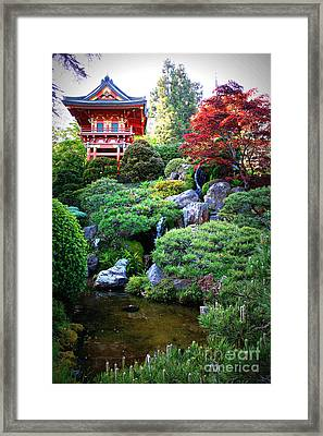 Japanese Garden With Pagoda And Pond Framed Print