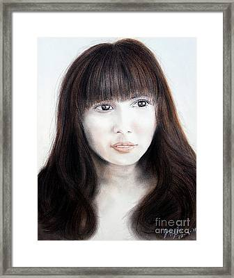 Japanese Girl With Bangs Framed Print by Jim Fitzpatrick