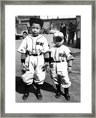 Japanese Kids Wearing American Baseball Framed Print