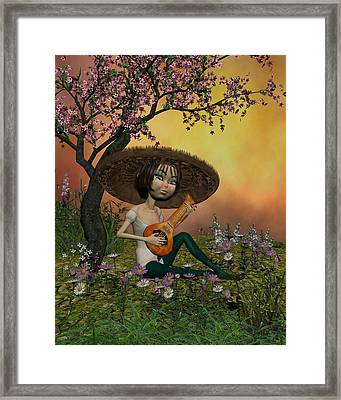 Japanese Musical Morning In The Garden Framed Print by John Junek