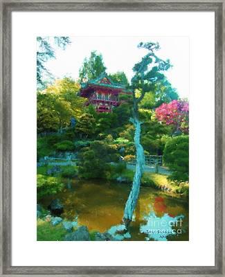 Japanese Tea Garden Temple Framed Print by Jerry Grissom