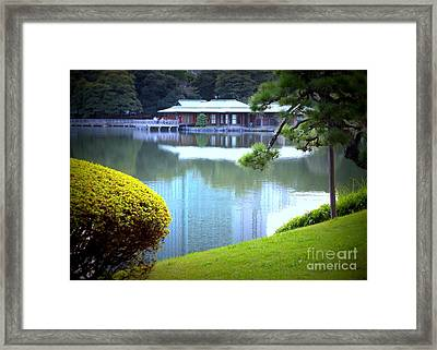Japanese Tea House Reflection Framed Print by Carol Groenen