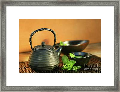 Japanese Teapot And Cup  Framed Print by Sandra Cunningham