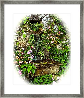 Japanese Water Feature Framed Print by Jocelyn Kahawai