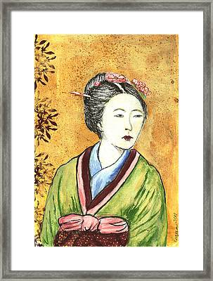 Japanese Woman Framed Print by Pegeen  Shean