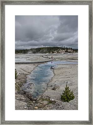 Japanese Woman With Umbrella At Norris Geyser Basin Framed Print by Daniel Hagerman