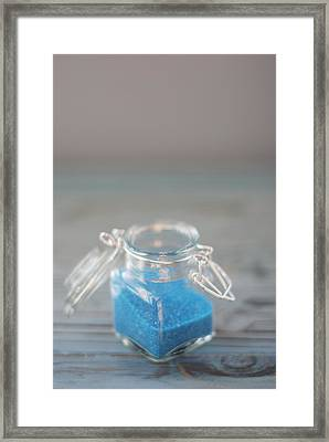 Jar Of Blue Sprinkles Framed Print by Shawna Lemay