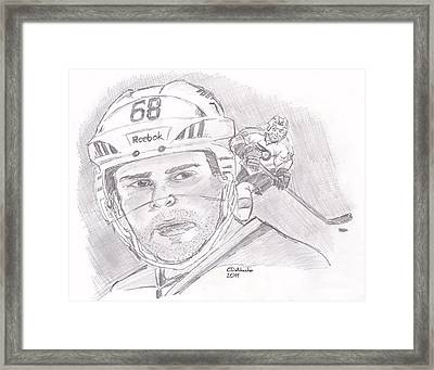 Framed Print featuring the drawing Jaromir Jagr by Chris  DelVecchio