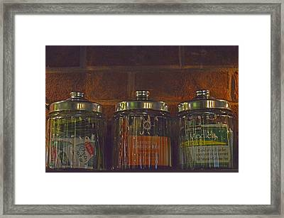 Jars Of Assorted Teas Framed Print by Sandi OReilly