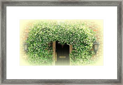 Jasmine Covered House Door In Charleston Sc Framed Print by Susanne Van Hulst