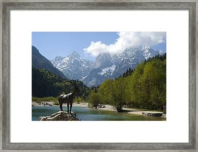 Jasna Lake In Julian Alps With Statue Of Mythical Chamois Zlatorog Framed Print by John Elk III