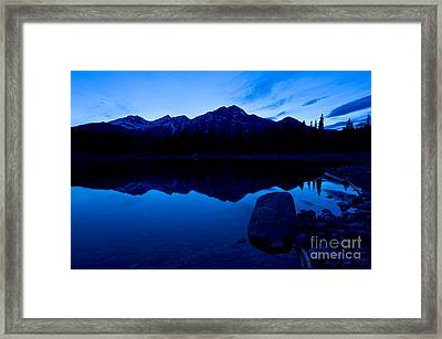 Jasper - Patricia Lake And Pyramid Mountain At Dusk Framed Print by Terry Elniski