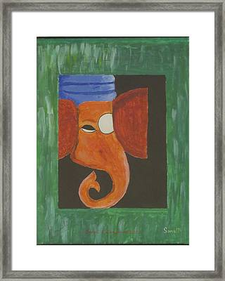 Framed Print featuring the painting Jay Ganesh by Sonali Gangane