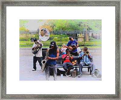 Jazz Band At Jackson Square Framed Print by Bill Cannon