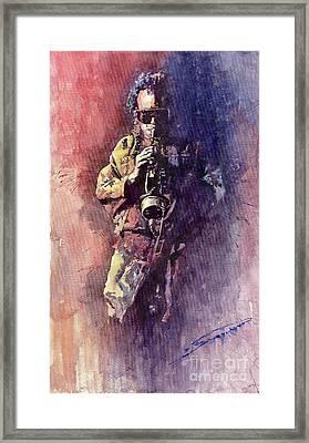 Jazz Miles Davis Maditation Framed Print by Yuriy  Shevchuk