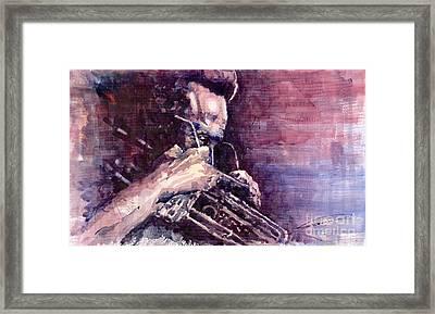 Jazz Miles Davis Meditation  Framed Print by Yuriy  Shevchuk