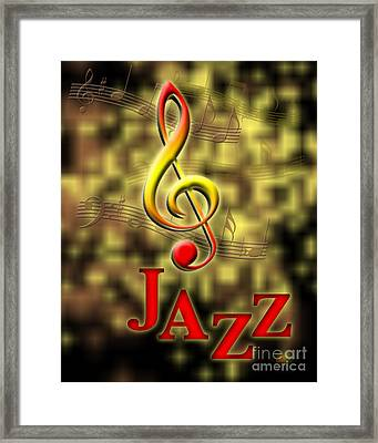 Jazz Music Poster Framed Print by Linda Seacord