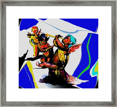 Jazz Trio At The Cloud Bar Framed Print by Merlin Neff