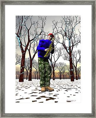 Jazzmas In The Park 3 Framed Print by Walter Oliver Neal