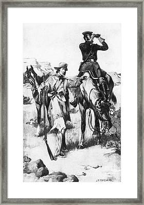J.c. Fremont And His Guide, Kit Carson Framed Print by Photo Researchers