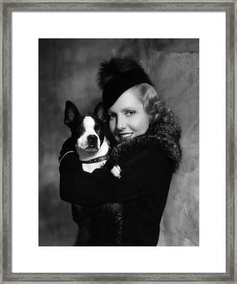 Jean Arthur With Boston Terrier, 1935 Framed Print by Everett