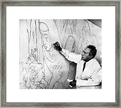 Jean Cocteau Works On A Mural Framed Print by Everett