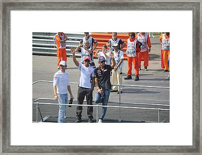 Framed Print featuring the photograph Jean-eric Vergne Lewis Hamilton And Nico Rosberg by David Grant