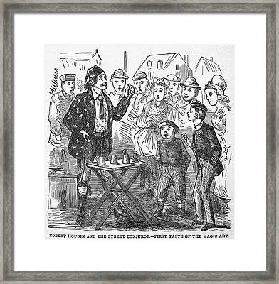 Jean Eugene Robert Houdin (1805-1871). French Magician. Wood Engraving, C1880, From An American Edition Of Houdins Autobiography, Depicting His First Childhood Encounter With A Street Magician Framed Print by Granger