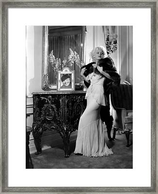 Jean Harlow With Photograph Framed Print by Everett