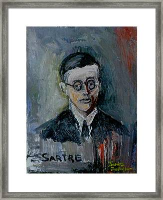 Jean Paul Sartre Framed Print by James Gallagher