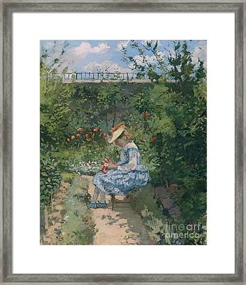 Jeanne In The Garden Framed Print by Camille Pissarro