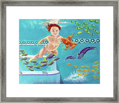 Framed Print featuring the painting Jeannie As A Baby Swimming As A Fish by Nancy Tilles