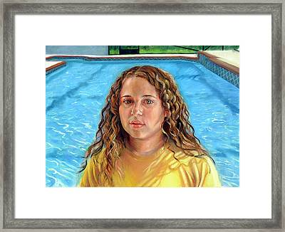 Framed Print featuring the painting Jeannie At The Pool by Nancy Tilles