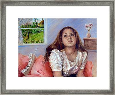Framed Print featuring the painting Jeannie Waiting For A Call by Nancy Tilles