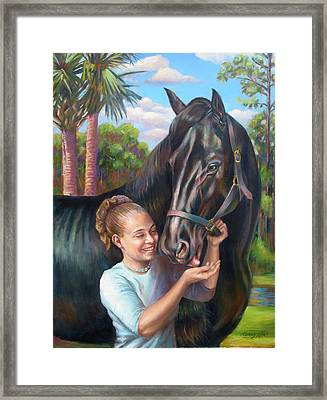 Framed Print featuring the painting Jeannie With Seiba's Gentle Touch by Nancy Tilles