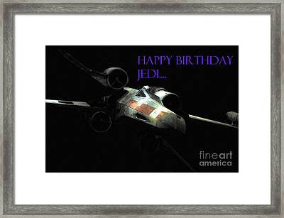 Jedi Birthday Card Framed Print by Micah May
