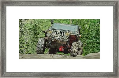 Jeep On The Rocks Framed Print by Jeff Taylor