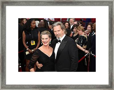 Jeff Bridges, Susan Geston At Arrivals Framed Print by Everett
