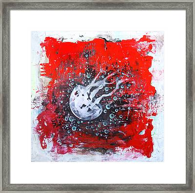 Jellyfish In The Red Water Framed Print by Lolita Bronzini