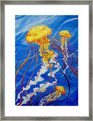 Framed Print featuring the painting Jellyfish by John Gibbs