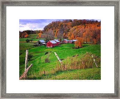 Jenne Farm-autumn Scenic From Reading Vermont  Framed Print