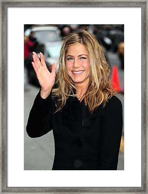 Jennifer Aniston At Talk Show Framed Print by Everett