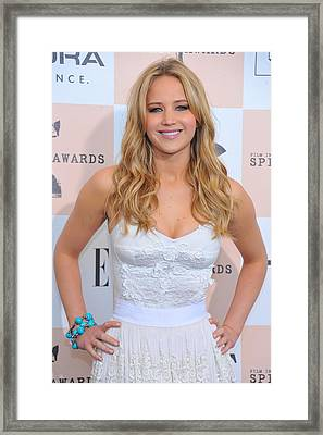Jennifer Lawrence Wearing Dolce & Framed Print by Everett