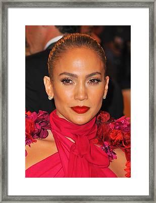 Jennifer Lopez At Arrivals Framed Print