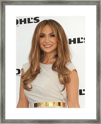 Jennifer Lopez Wearing A Gucci Dress Framed Print by Everett
