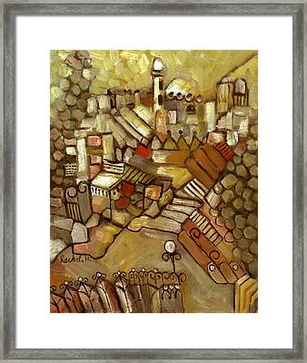 Jerusalem Of Gold Landscape Framed Print by Rachel Hershkovitz