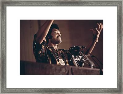Jesse Jackson Speaks On A Radio Framed Print