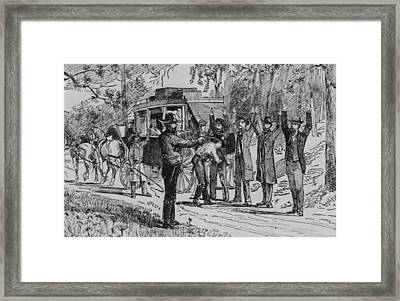 Jesse James And Bill Ryan Robbing Framed Print by Everett