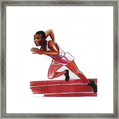 Jesse Owens Framed Print by Emmanuel Baliyanga