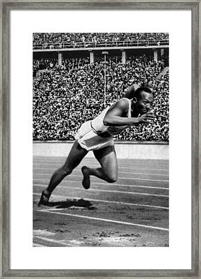Jesse Owens Setting The 200 Meter Framed Print by Everett